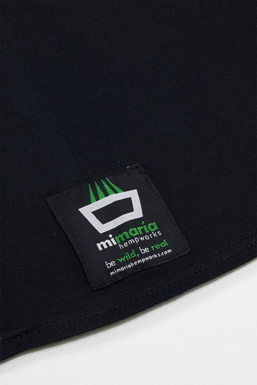 Detalle etiqueta camiseta mimaría hempworks color negro