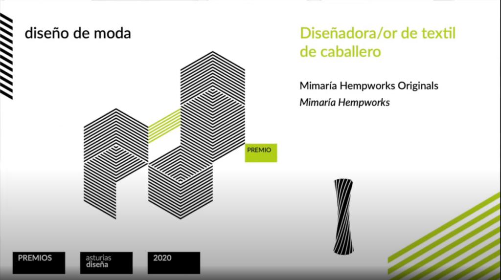 Premio Asturias Diseña 2020 al diseño textil masculino por mimaría hempworks originals